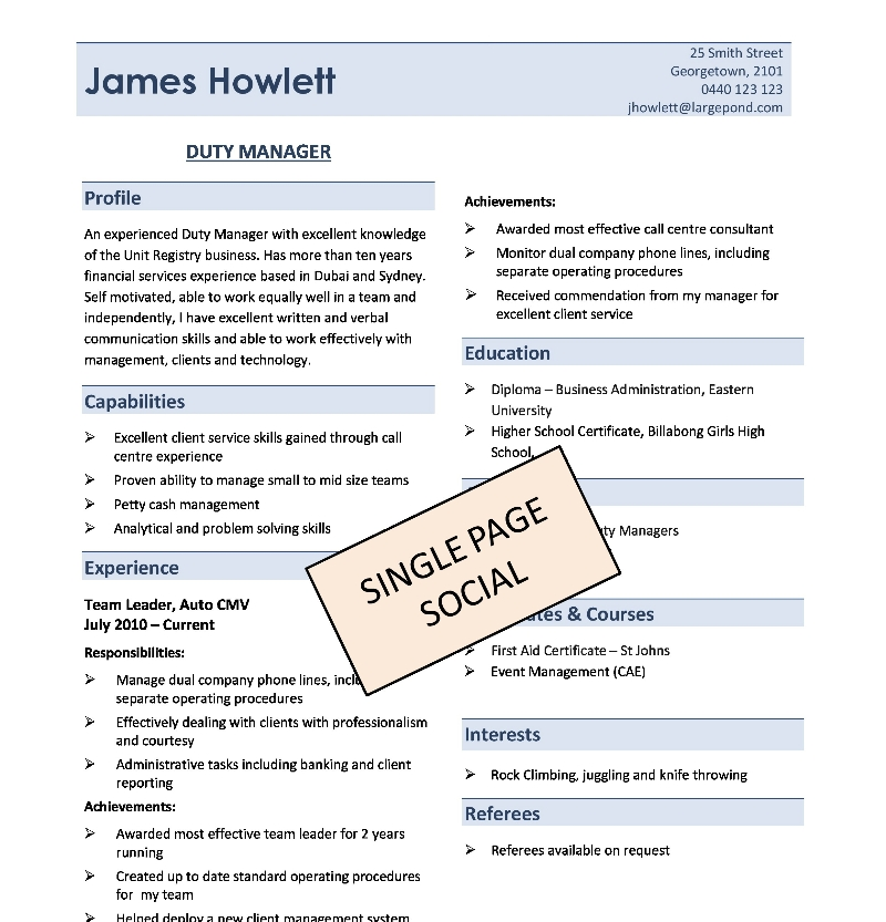 one page resume format download – Single Page Resume Format Download