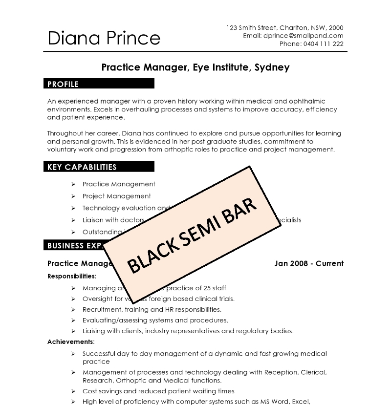 black semi bar - Australian Resume Template Word