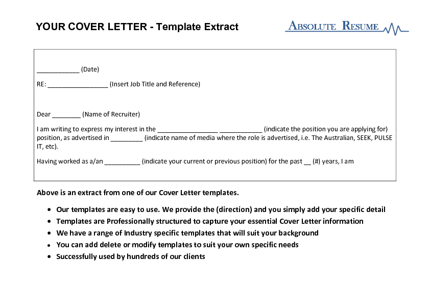 DIY Cover Letter Templates Absolute Resume