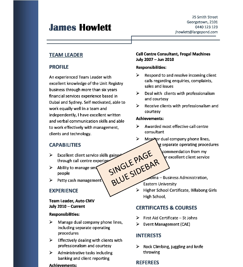 single-page-blue-sidebar Sample Resume For Job Format on sample job thank you letters, sample resume word document, sample student resume format, sample resume cover letter format, sample it resume formats, sample resume format word, sample resume for skills, sample resume templates, sample cover letters for employment, sample resumes for jobs, sample dance resume format, sample job cover letter examples, simple sample resume format, sample government resume format, sample job cover letter for fashion, sample 2 page resume examples, sample resume forms, sample fresher resume format, sample resume format 2014, sample resume pdf-format,